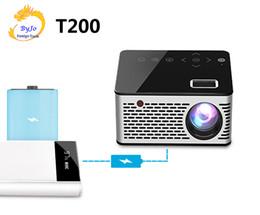 projetores de bolso Desconto UNIC T200 LED Projetor de Bolso Portátil Suporte AV TF Cartão USB HDMI 5 V-2A Poder em Piano laca botão de Toque