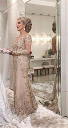 Argentina 2019 Vestidos de lujo para la madre de la novia Cuello en V Manga larga Con cuentas de cristal Sirena Apliques de encaje Tallas grandes Vestidos de invitados para bodas de noche Suministro