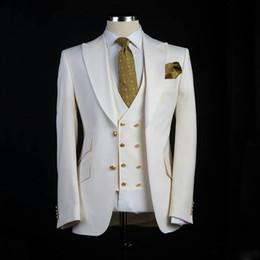 2019 tuxedo grande uomo Smoking dello sposo di stile classico Big Risvolto Peaked Groomsman Suit Blazer bianco come abito da sposa Custom Made Suit Suit Jacket + pants + vest sconti tuxedo grande uomo
