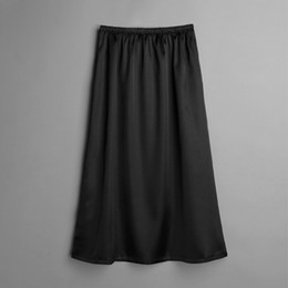 2019 demi-slip noir sexy 2019 été femme jupon mi-longue en satin glissant jupe ample coupe sexy jupe casual wear blanc noir champagne promotion demi-slip noir sexy