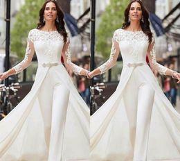 vestidos de novia únicos de invierno Rebajas Manga larga blanca del mono de boda vestidos de encaje raso con sobrefaldas Cuentas Cristales más el tamaño de vestidos de novia pantalones de vestir Vestidos de novia