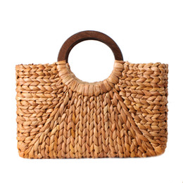 Vintage straw tote bag online-Designer- Donna Vintage Rattan Handbag Donna Bohemian Summer Beach Paglia Borse Lady Simple Weave Bag Handmade Casual Grande Tote SS3032
