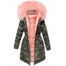 casacos acolchoados para mulheres longas Desconto Algodão acolchoado casaco quente Camouflage Parka Mulheres Long Casacos de inverno de espessura Feminino Casual Fur Militar Tops Casacos Coats 2019 DT191028