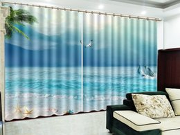 dolphin curtains Promo Codes - Seagull Dolphins In A Blue Sea 3D Seascape Curtain Interior Decoration Beautiful High-End Curtains