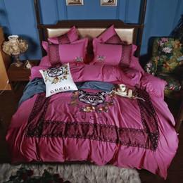 Canada Vin Rouge Femmes Literie Fille Chambre Mignon Chat Broderie 4 PCS Textiles À La Maison Sexy Dentelle L'Europe Et L'Amérique De Mode Literie cheap cat embroidery lace Offre