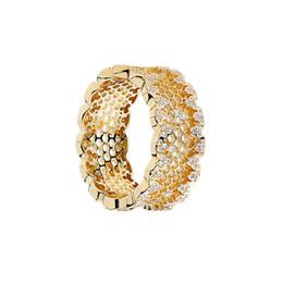 6bc74828e77d Joyas de lujo Anillo CZ S925 Anillos de plata esterlina para mujer Anillos  de nido de abeja chapados en oro de 18K Pandorx Barato