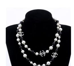 2019 maillons de collier rond en bronze perle perles naturelles perles blanches collier pour femmes chaîne long pull Colar Bijoux