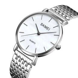 женские часы дизайн браслет стиль Скидка SKMEi Ladies Fashion Stainless Steel Ultra-Thin Silver Strap Analog Quartz Watch Simple Style Design Bracelet Watch Ladies Clo