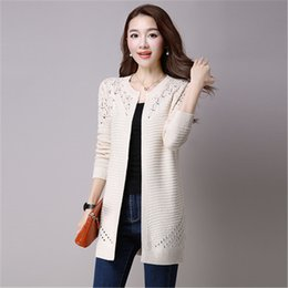 e0b957fc9ef4 New Fashion Plus Size 4XL 2018 Spring Autumn Women s Sweater Long-sleeve  Female Long Knitwear Hollow Out Lace Cardigan Coat A926 Y18110601