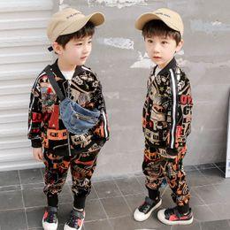 2t boys outfits online-2019 Frühling Kinder Designer Kleidung Jungen Kleidung Sets Jungen Trainingsanzug Mode Jacke Mantel + Hose Kinder Trainingsanzug Kids Outfits A3337