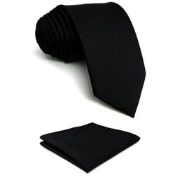 Gravata de seda preta sólida on-line-Sólido Preto Sólida Dos Homens Gravata Gravata Moda Presente de Casamento Acceossories X-long Bolso Quadrado Set