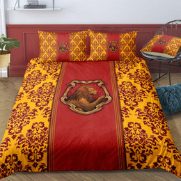 Rote bettwäsche zwilling online-King-Size-Bettwäsche Set Gryffindor Modische Red Harry Potter Bettbezug König Königin Twin Volleinzeldoppelbett-Abdeckung mit Pillowcase