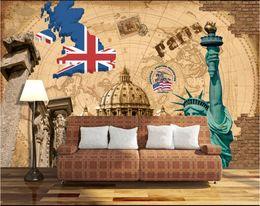 2020 fondo de pantalla de la casa blanca Papel tapiz 3D de la habitación foto mural personalizado American vintage casa blanca estatua TV fondo decoración para el hogar arte de la pared fotos papel tapiz para paredes 3 d fondo de pantalla de la casa blanca baratos