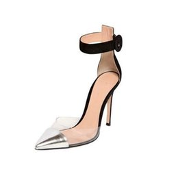 women white transparent dress Promo Codes - Concise Women Runway Shoes PVC High Heel Pumps Buckle Strap Silver and Black Pointed toe Transparent Shoes Thin Heel Dress Shoes