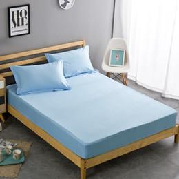 100% coton housse de matelas double complet lit queen drap housse 1 pièce drap de lit de couleur unie55 ? partir de fabricateur