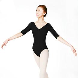 2019 robe siamois Manches longues Ballet Justaucorps pour Femmes Col en V Femelle Adulte Gymnastique Moderne Robe De Danse Manches de Conjoined Acrobatics Costume promotion robe siamois