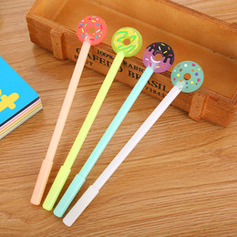 plastic doughnut Coupons - 40 pcs Creative doughnut Chinese Pen Cartoon lovely Learning Stationery small fresh Office Waterborne signature Pen