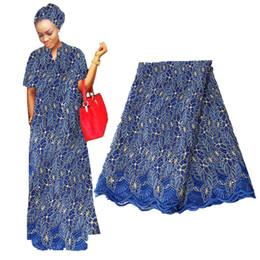 tissus français cour Promotion 5 jardin / 130cm dentelle française Tissu 2019 de haute qualité africaine dentelle perlée Tissu Nigerian Tulle maille dentelle tissus pour mariage