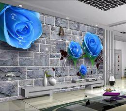 обои для рабочего стола Скидка 3D Blue Rose Mural фотообои для гостиной телевизор Backsplash Декор стен большой размер фрески кирпич обои 3d контактная бумага