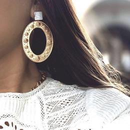Jóias de camafeu vintage on-line-2019 Vintage Moda Feminina Jóias Cor de Ouro Geométrica Oval Brincos De Argola Para As Mulheres Meninas Cameo Brincos Jóias Acessórios