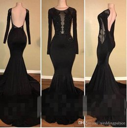 Canada Robes de bal noir bijou dos ouvert avec manches longues élastiques satin balayage balayage train sirène robes de soirée Offre
