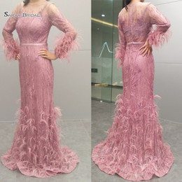 rendas nobres Desconto 2019 Real Pictures Noble Evening Formal Vestidos de Noite Lace Sereia Manga Comprida de Penas Prom Party Wear Maxi Vestidos