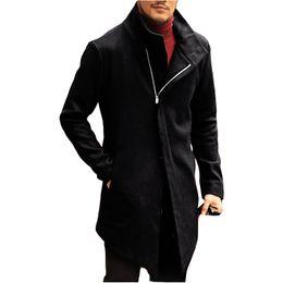 2019 mens di cappotto incappucciato a lana singola Giacca invernale in lana da uomo Slim casual in lana di alta qualità Cappotto da uomo in cotone a manica lunga rovesciabile sul collo