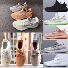 2019 nuevas zapatillas transpirables Adidas Yeezys 350 Boost V2 Static Refective para correr Nuevo diseño de calidad superior para hombre ShOes malla transpirable Chaussures Homme mujeres tamaño 5-12 nuevas zapatillas transpirables baratos