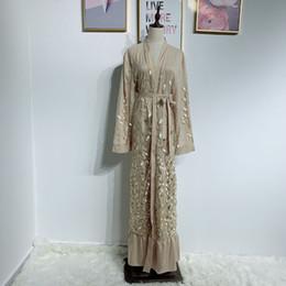 Lantejoula quimono muçulmano dubai kaftan vestido qatar abayas abaya cafetã abayas para as mulheres islão turco islâmico clothing robe arabe femme supplier caftan sequin de Fornecedores de cetim caftan