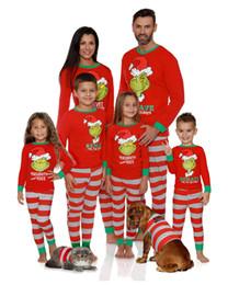 Indumenti da notte per ragazzi online-Pigiama per la famiglia di Natale Xmas Bambini Famiglia per adulti Abbinamento Set di indumenti da notte a strisce di Natale Madre Padre Figlia Ragazzi Set di abbigliamento per la casa di Natale