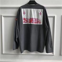 Chemise croisée à manches longues en Ligne-Hip Hop CAVEMPT T Shirt Hommes Femmes 1c: 1 Haute Qualité Kanye West Lavé Do Old Cross broderie C.E CAV EMPT Manches longues T-shirts
