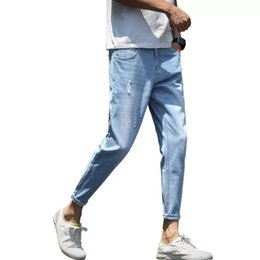 2019 Summer Slim Hole Jeans Men Nine Points Ankle Length Pencil Pants Solid Light Blue Casual Thin Denim Trousers Men Clothes от