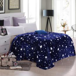 Cobertor de rainha grosso on-line-Flanela Blue Star cobertor de lã Sofá Lance Sheets Inverno Blanket Double Queen presente Grosso Inverno Chama RetardantCB4246 / o