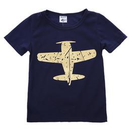 Camiseta de aviões on-line-Verão Novidade Algodão de Manga Curta Menino Crianças de Ouro Plana T-shirt Sólida Camisa Tops Casual Blosue