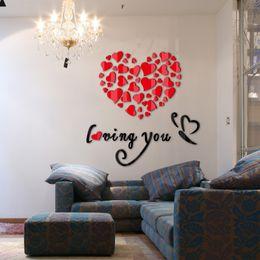 2019 venda de adesivos espelho Venda quente 2017 adesivos de parede espelho acrílico diy adesivo de decoração para casa amor adesivo 3d sala de estar design moderno venda de adesivos espelho barato