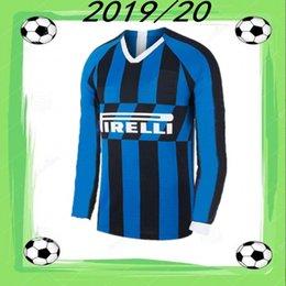 2019 camisetas de fútbol de calidad tailandesa ee. Camiseta de fútbol de manga larga 2019/20 Inter camiseta de fútbol BROZOVIC ICARDI SKRINIAR 2019 de local Inicio LAUTARO DE VRIJ POLÍTICO PERISICO Uniforme de fútbol