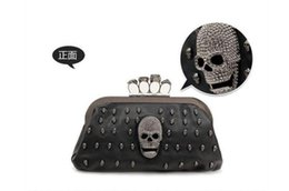 43c6c47cb56 New Fashion Women's Handbags PU Leather Lady Skulls Knuckle Black Duster  Ring Bag Clutches Evening Bag 3A