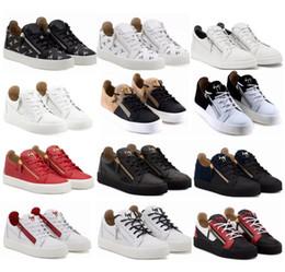2019 Italia Lujo Zanotti Zapato de color a juego con cremallera hombres mujeres Low Top zapatos planos de cuero genuino zapatos para hombre diseñador zapatillas de deporte envío gratis desde fabricantes