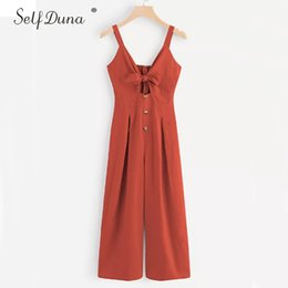 e52ca2105ada Self Duna 2019 Summer Women Spaghetti Strap Jumpsuit Romper Elegant Overalls  Backless Chiffon Hollow Out Wide Leg Sexy Jumpsuit