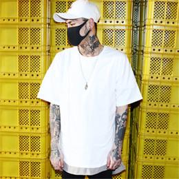 b65f70d500b1 Men Solid summer Bat sleeve Loose T Shirts Extend Curved hem Cotton  Streetwear Tops Harajuku Japanese Short sleeve White T Shirt bat man t shirt  for sale