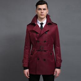 2019 mantel wein farbe Minglu Weinrot Herren Mantel Luxus England Stil Zweireiher Einfarbig Herren Jacken Mode Weinrot Long Man Trench rabatt mantel wein farbe