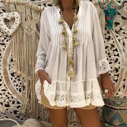 Top e camicette da donna Plus Size Top scollo a V Abbigliamento donna Caftan Boho Beach Cover Ladies Vintage Hippie Baggy Bluseas blusas cheap plus size hippie boho clothing da più abbigliamento hippie boho di formato fornitori