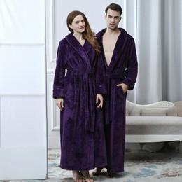c90cd73e53 Winter Couple Coral Fleece Bathrobes Women Men Warm Long Sexy Kimono Bath  Robe Plus Size Dressing Gown Bridesmaid Robes Female
