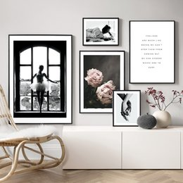 women room paintings Coupons - Black and White Window Girl Wall Art Back View Woman Canvas Painting Poster Posters And Prints Wall Pictures For Living Room