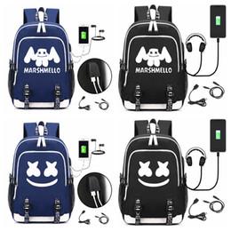 Ноутбуки детские онлайн-DJ marshmello мешок школы usb ноутбук рюкзак для девочек мальчиков подростков детские прохладный bookbag дети сумка FFA1708