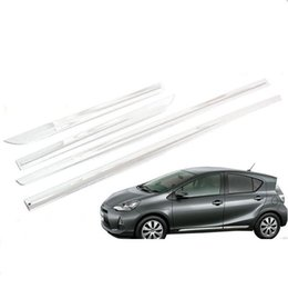 2019 espelho opel JY 4 pcs SUS304 Aço Inoxidável Porta Lateral Do Corpo Guarnição Do Carro Styling Capa Acessórios para Toyota Prius C Aqua NHP10 2011-2014