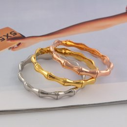 Gelenke armreifen online-Unisex New Style Armbänder Bonzer Hohe Qualität Wokmanship Bamboo Joint Fashion Armreifen 18 Karat Roségold Titan Stahl Armbänder