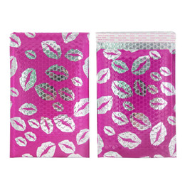 kiss lip Promo Codes - TONESPAC 190*260mm 25pcs Lips Kiss Poly Bubble Mailer Padded Shipping Envelopes Bag Self Seal Waterproof Packaging Hot pink