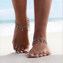 occhio incrociato Sconti 2018 Summer Style Bohemian Boho Silver Coin cavigliera gioielli braccialetto piede alla caviglia