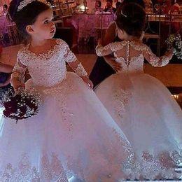 Flor de la boda apliques pequeña princesa vestidos de bola blanco de manga larga de encaje vestidos de niña de cuello redondo de longitud de vestido de baile hinchada AL2385 desde fabricantes